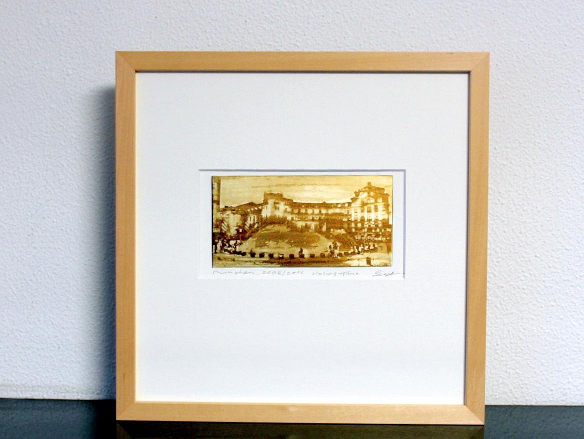 Heliographie nach Niépce, Unikat, München, Karlsplatz, Metallplatte, Lavendelöl, Bitume de Judée