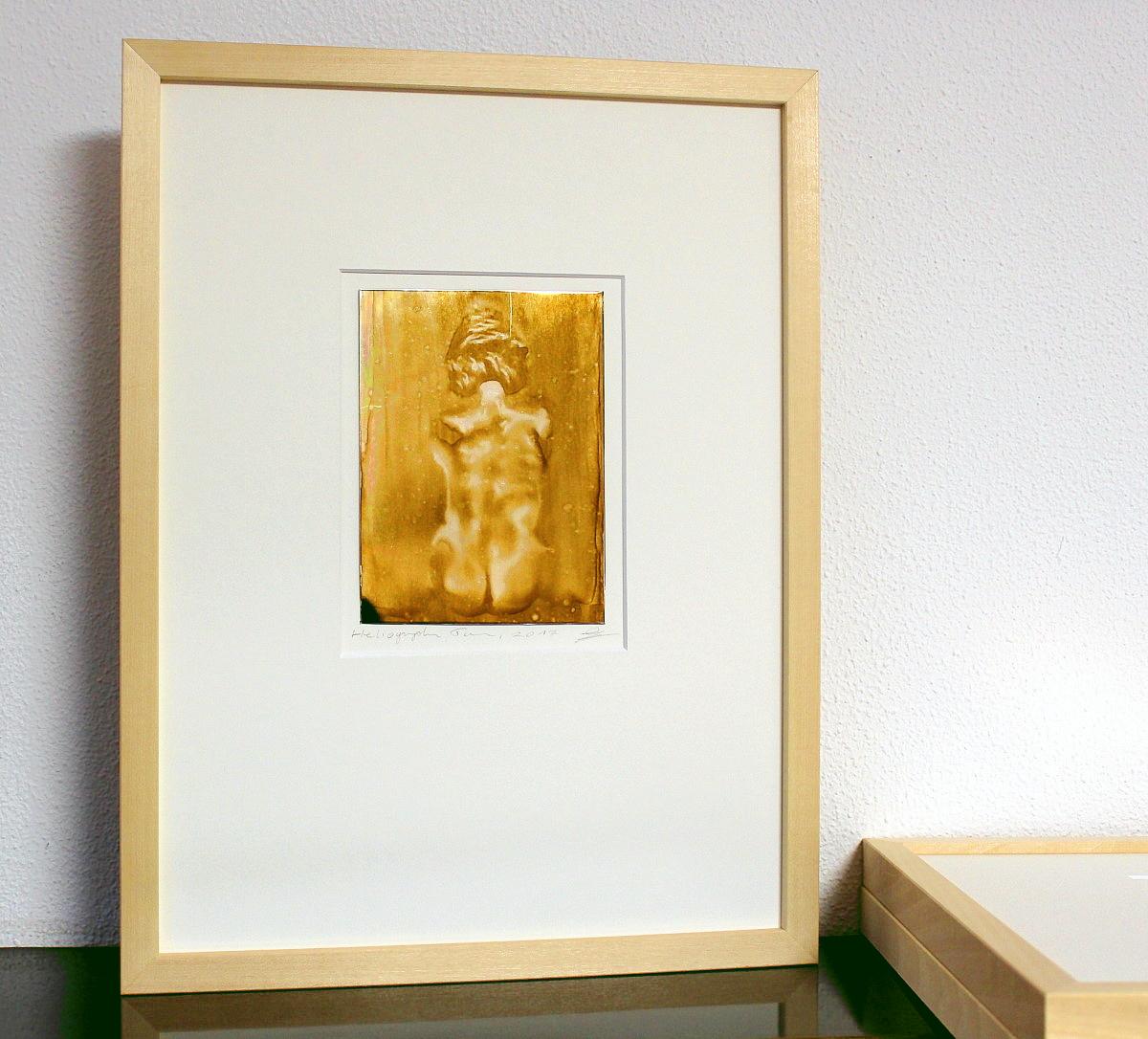 Heliographie nach Niépce, Unikat, Torso,Metalplatte, Lavendelöl, Bitume de Judée