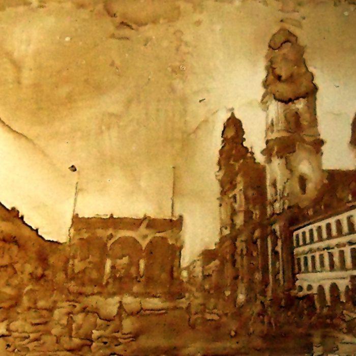 München, Odeonsplatz, Heliographie nach Joseph Nicéphore Niépce