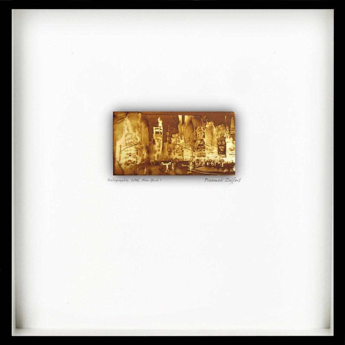 Heliographie nach Niépce, Unikat, New York I, Metallplatte, Lavendelöl, Bitume de Judée